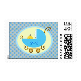Baby carriage-blue postage