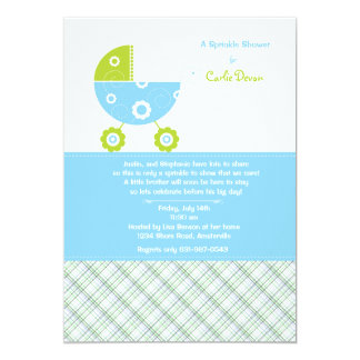 Baby Carriage Blue Sprinkle Shower Invitation