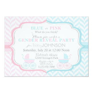 Baby Carriage & Chevron Print Gender Reveal Invitations