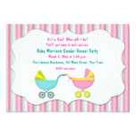 Baby Carriage Gender Reveal Custom Announcement