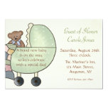 Baby Carriage Green 5x7 Paper Invitation Card