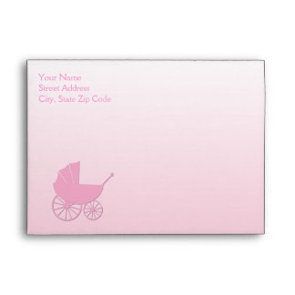 Baby Carriage in Pink Baby Shower Set Envelope