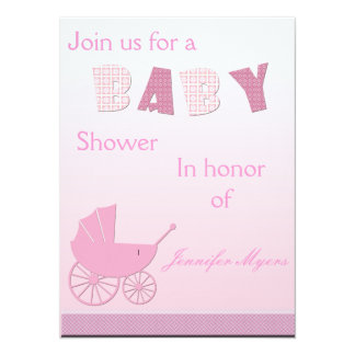 "Baby Carriage in Pink Baby Shower Set 5.5"" X 7.5"" Invitation Card"