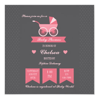 Baby Carriage Invitation (Pink)