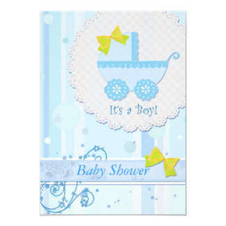 "Baby Carriage ""It's a Boy"" Blue Baby Shower Card"