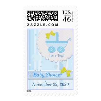 Baby Carriage It's a Boy! Blue Baby Shower Stamp