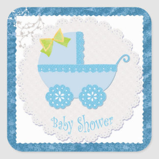 Baby Carriage It's a Boy! Blue Baby Shower Sticker