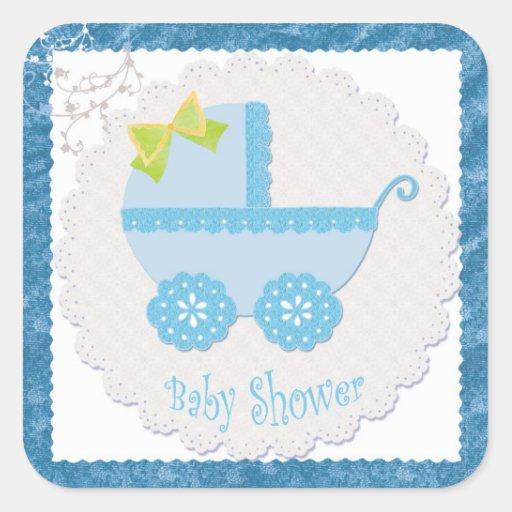 baby carriage it 39 s a boy blue baby shower sticker zazzle