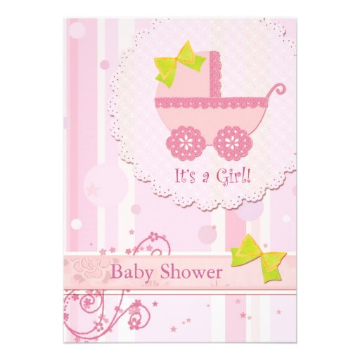 baby carriage it 39 s a girl pink baby shower invite 5 x 7 invi