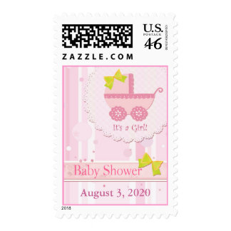 Baby Carriage It's a Girl! Pink Baby Shower Stamps
