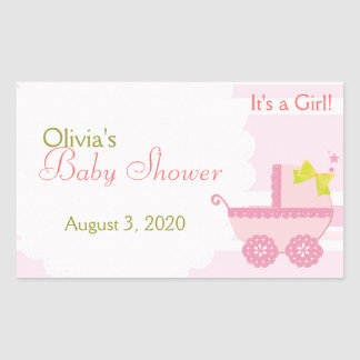 Baby Carriage It's a Girl Pink Baby Shower Sticker