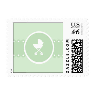 Baby Carriage Medallion Green Postage
