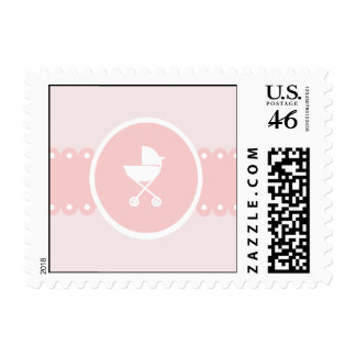 Baby Carriage Medallion Pink Postage
