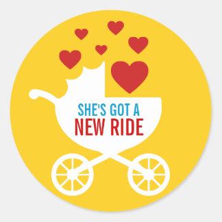 Baby Carriage New Ride Shower Gift Round Sticker