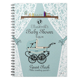 Baby Carriage- Nursery-Baby Shower Guest Book- Notebook