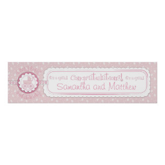 Baby Carriage & Pacifier Baby Shower Banner Girl Poster