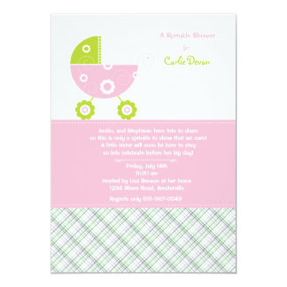 Baby Carriage Pink Sprinkle Shower Invitation