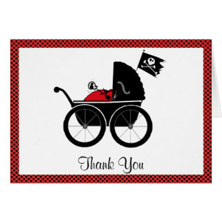 baby carriage red, Thank You card