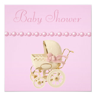 Baby Carriage, Shoes, Pacifier, Pearls Baby Shower Card