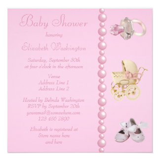 Baby Carriage Shoes Pacifier Pearls Baby Shower Invitations