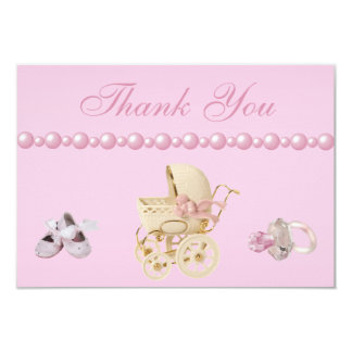 Baby Carriage, Shoes, Pacifier, Pearls Thank You Card