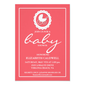 Baby Carriage Silhouette Baby Shower Invitation