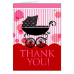 Baby Carriage Thank You (red pink) Greeting Cards