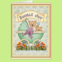Baby Carriage Twins Card