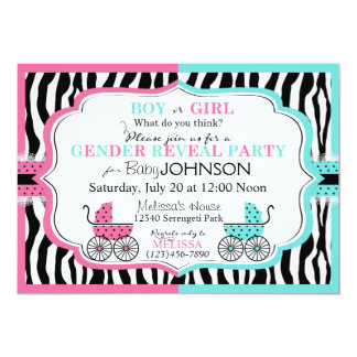 Baby Carriage & Zebra Print Gender Reveal 2 5x7 Paper Invitation Card