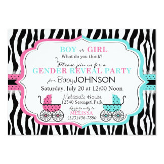 Baby Carriage & Zebra Print Gender Reveal 5x7 Paper Invitation Card