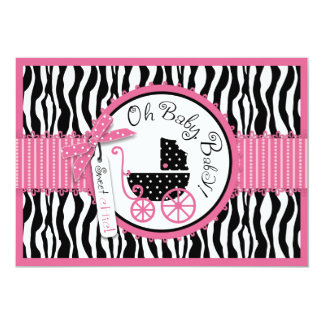 baby carriage zebra print hot pink baby shower 5x7 paper invitation