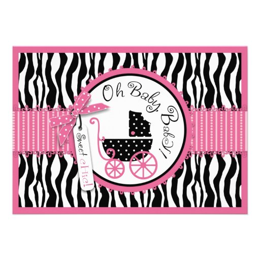 Baby Carriage, Zebra Print & Hot Pink Baby Shower Personalized Invites