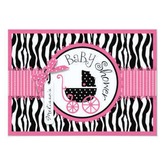 Baby Carriage, Zebra Print & Hot Pink Baby Shower Personalized Invitations