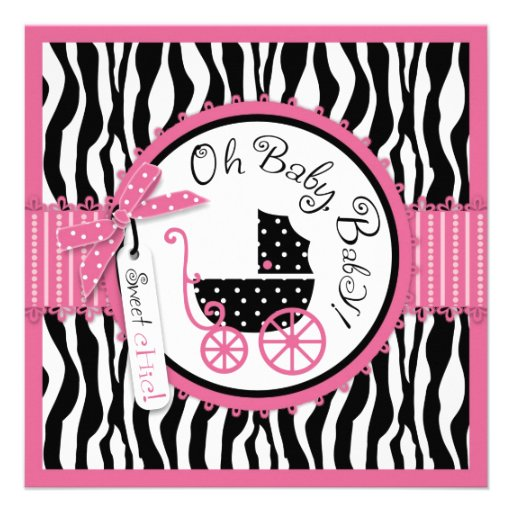 baby carriage zebra print hot pink baby shower square