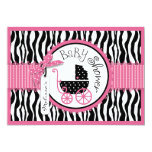 Baby Carriage, Zebra Print & Hot Pink Baby Shower 5x7 Paper Invitation Card
