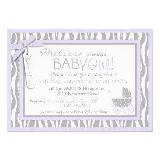 Baby Carriage, Zebra Print & Lavender Baby Shower Invitations