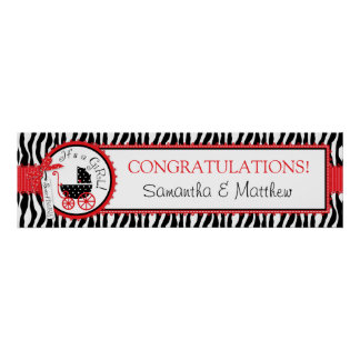 Baby Carriage, Zebra Print, Red Baby Shower Banner Poster