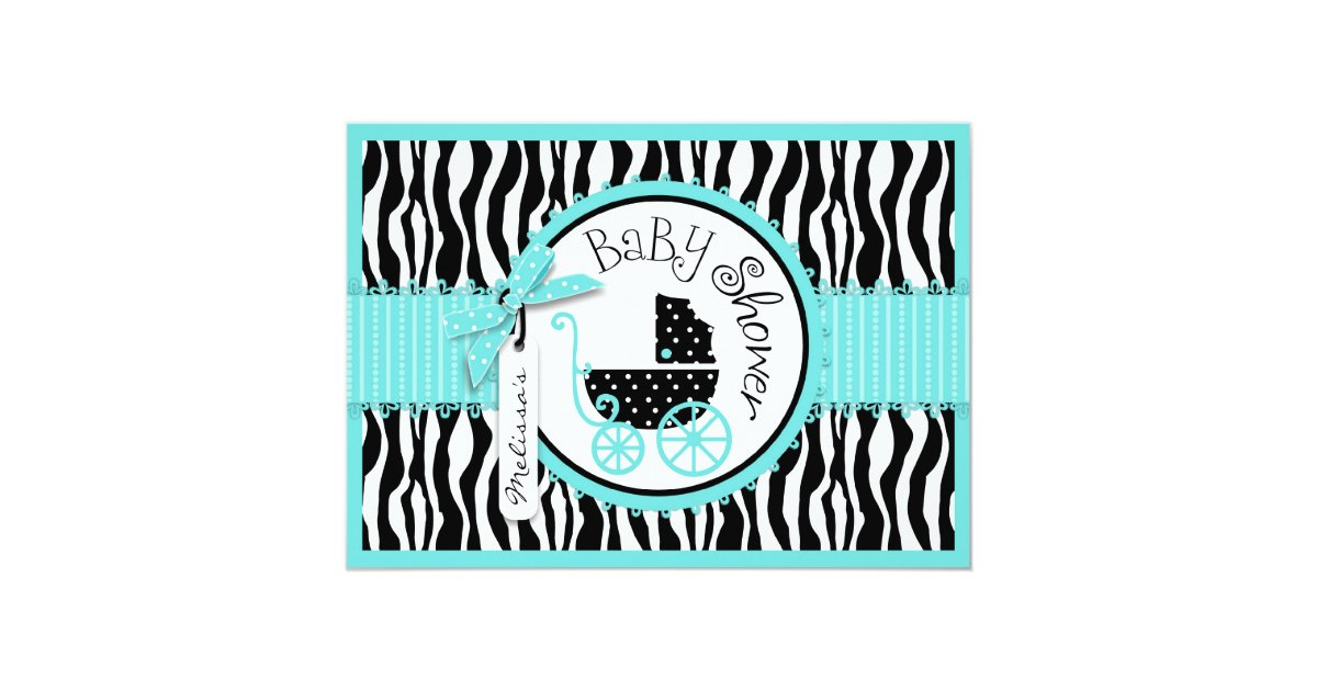 baby carriage zebra print turquoise baby shower card zazzle