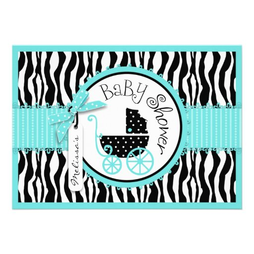 baby carriage zebra print turquoise baby shower 5x7 paper