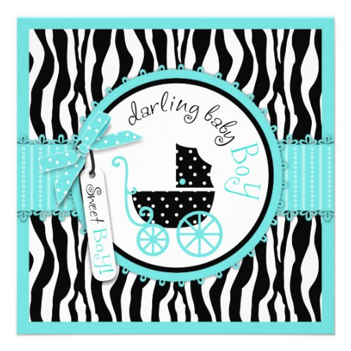 Baby Carriage, Zebra Print & Turquoise Baby Shower Personalized Invitation