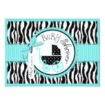 Baby Carriage, Zebra Print & Turquoise Baby Shower Custom Invitations