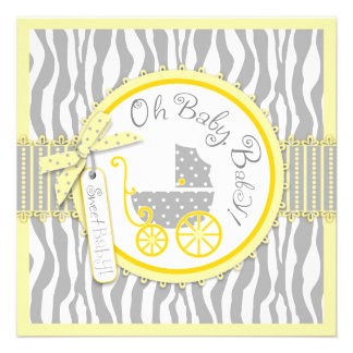 Baby Carriage Zebra Print Yellow Baby Shower Personalized Invites