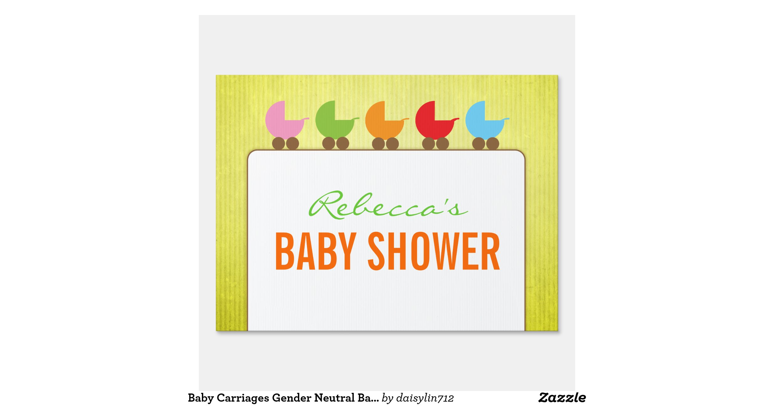 baby carriages gender neutral baby shower lawn sign zazzle