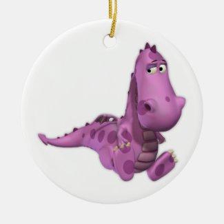 Baby Cartoon Dragons: Smoky Ceramic Ornament