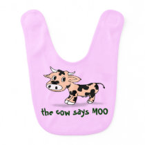 Baby Cartoon Moo Cow, farm animal sounds Bib