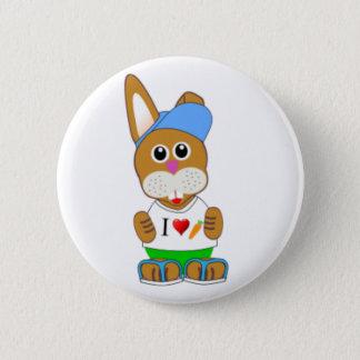 Baby Cartoon Rabbit In Summer Wear Pinback Button
