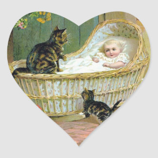 Baby, cat and kitten heart sticker
