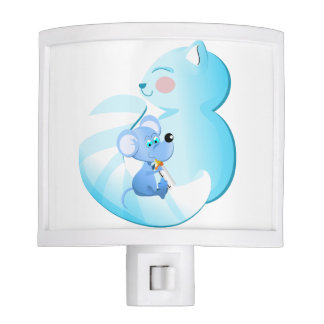 Baby cat and mouse night light
