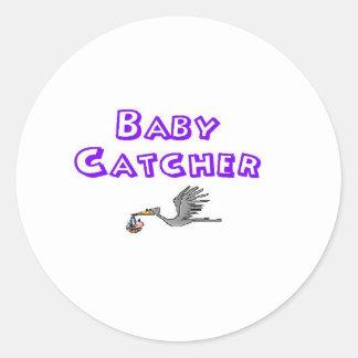baby catcher classic round sticker