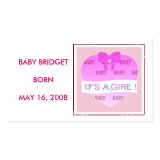 BABY CELEBRATION - IT'S A GIRL ! BUSINESS CARD